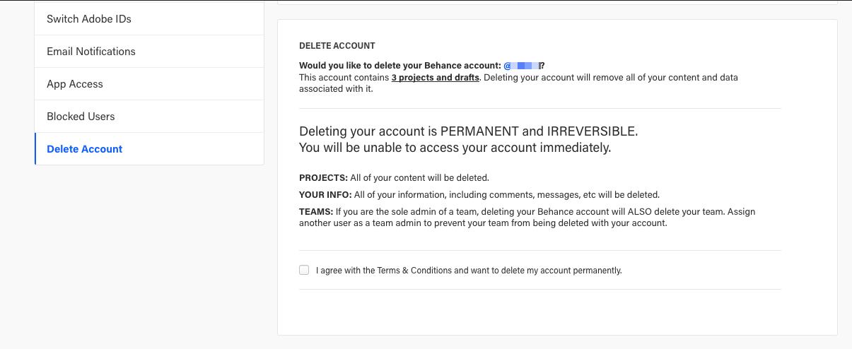 How do I delete my Behance account? – Behance Helpcenter